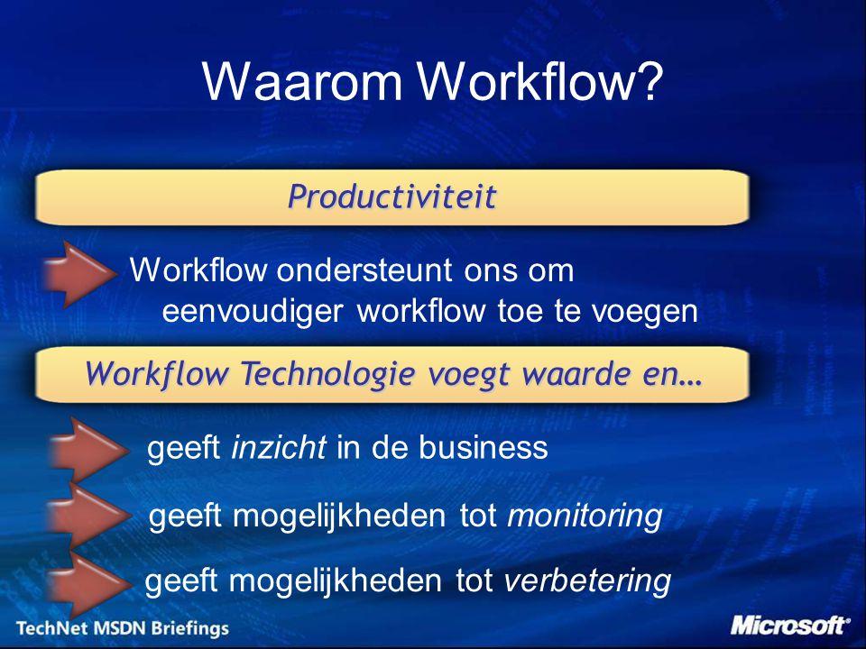 MSDN® Workflow Page –Microsoft® Visual Studio® Extensions –Download Hands-on Labs –http://msdn.microsoft.com/workflow Community Site –RSS feed voor nieuws & updates –Vind, download, & registeer Activiteiten –Blogs, screencasts, whitepapers, en andere informatie –Download voorbeelden, tools, en runtime service componenten –http://www.WindowsWorkflow.net Forums –Stel vragen in de forums –http://www.WindowsWorkflow.net/Forums Windows Workflow Foundation Resources