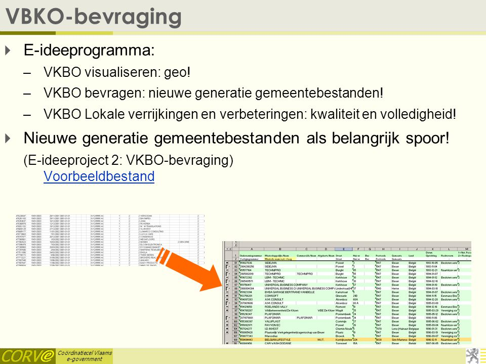 Coördinatiecel Vlaams e-government VBKO-bevraging  E-ideeprogramma: –VKBO visualiseren: geo.