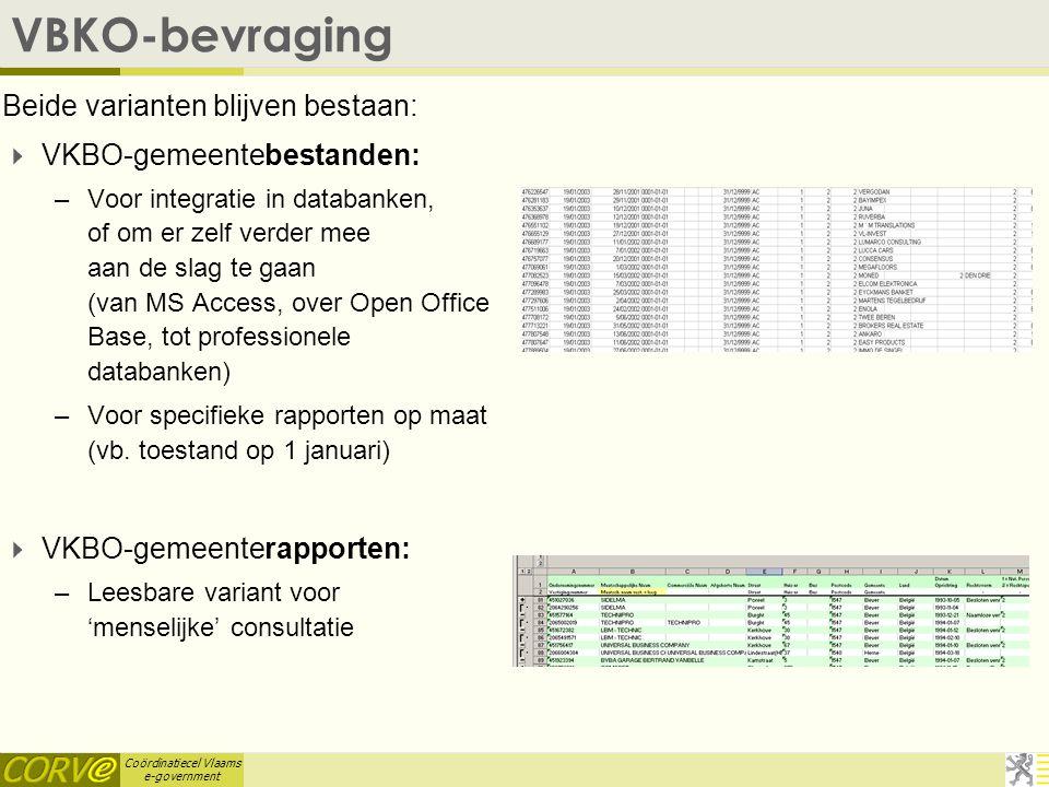 Coördinatiecel Vlaams e-government VBKO-bevraging Beide varianten blijven bestaan:  VKBO-gemeentebestanden: –Voor integratie in databanken, of om er zelf verder mee aan de slag te gaan (van MS Access, over Open Office Base, tot professionele databanken) –Voor specifieke rapporten op maat (vb.