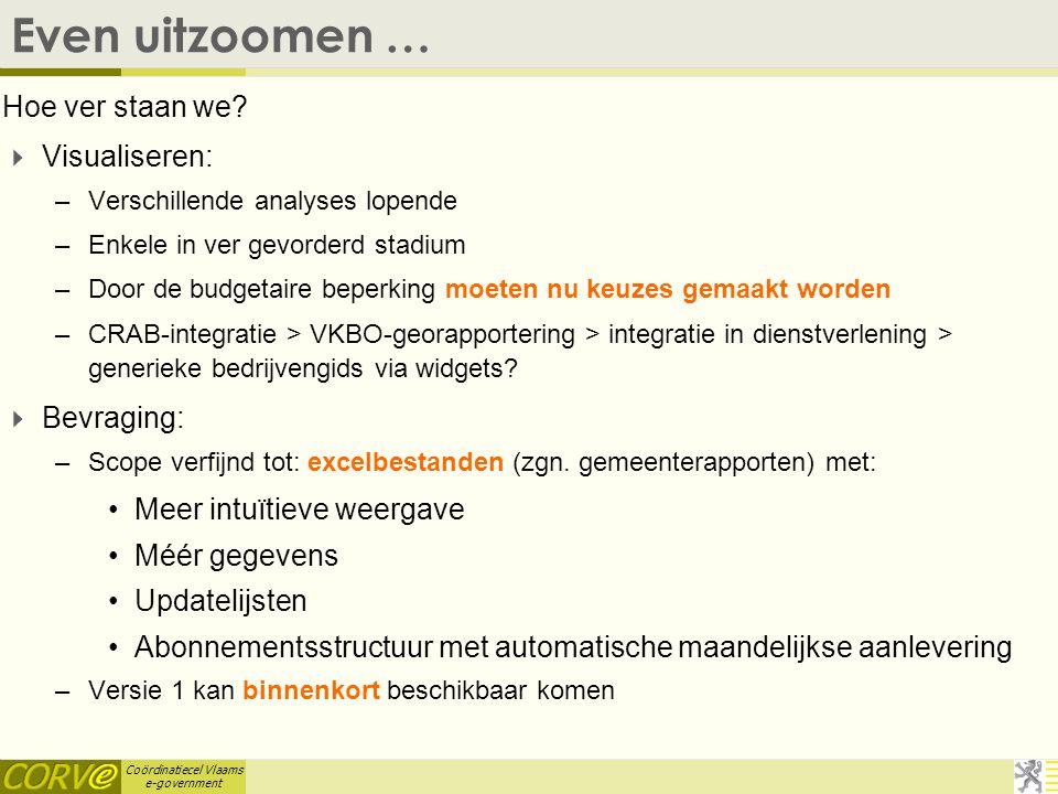 Coördinatiecel Vlaams e-government VBKO-bevraging  VKBO-gemeentebestanden waren eenmalig: –Voor volgend bestand nieuwe aanvraag nodig –Geen updates: wat is de evolutie t.o.v.