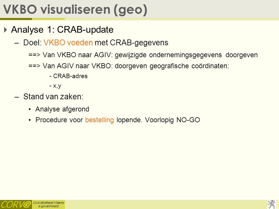 Coördinatiecel Vlaams e-government VKBO visualiseren (geo)  Analyse 1: CRAB-update –Doel: VKBO voeden met CRAB-gegevens ==> Van VKBO naar AGIV: gewijzigde ondernemingsgegevens doorgeven ==> Van AGIV naar VKBO: doorgeven geografische coördinaten: - CRAB-adres - x,y –Stand van zaken: Analyse afgerond Procedure voor bestelling lopende.