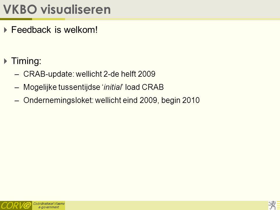 Coördinatiecel Vlaams e-government VBKO-bevraging: voordelen  Eerste verrijkingen: –Activiteiten (zoals bij de huidige gemeentebestanden) –Hoedanigheden (BTW-plicht, RSZ-plicht, ambachtsman, …) –Meer verrijkingen volgen tijdens de tweede helft 2009.