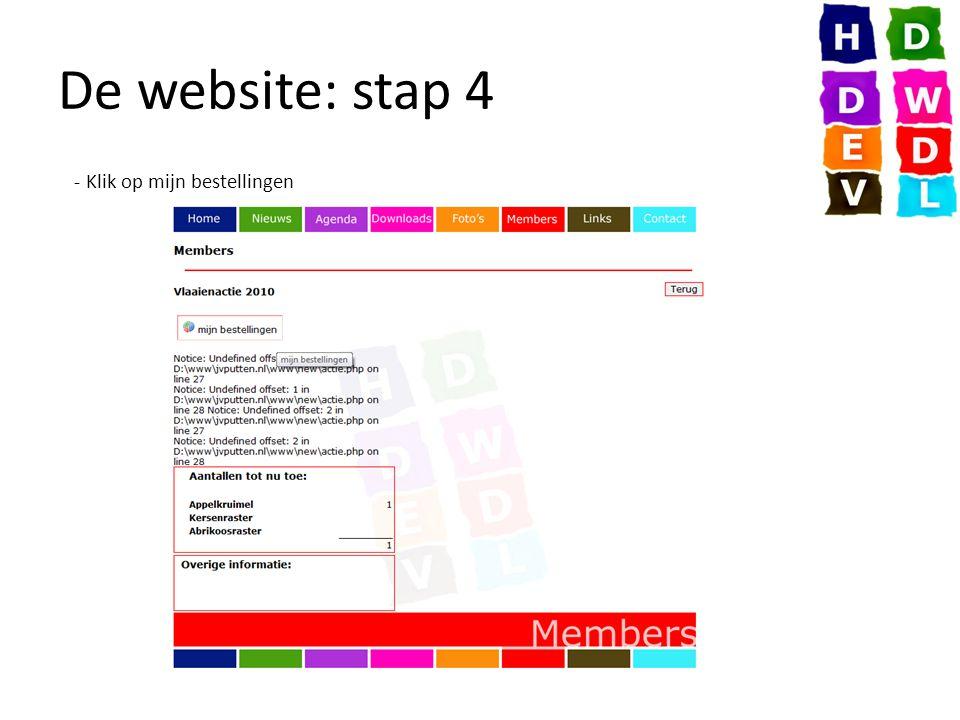 De website: stap 4 - Klik op mijn bestellingen