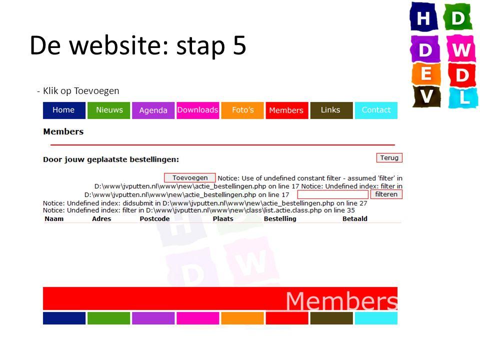 De website: stap 5 - Klik op Toevoegen