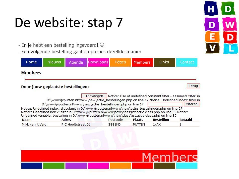 De website: stap 7 - En je hebt een bestelling ingevoerd.