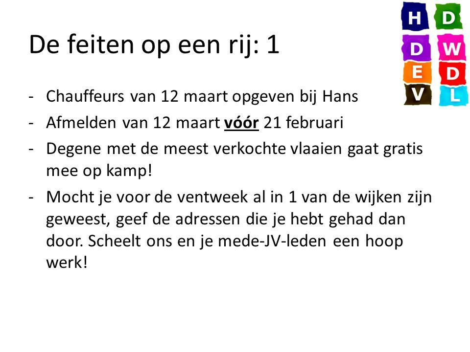 De feiten op een rij: 1 -Chauffeurs van 12 maart opgeven bij Hans -Afmelden van 12 maart vóór 21 februari -Degene met de meest verkochte vlaaien gaat gratis mee op kamp.