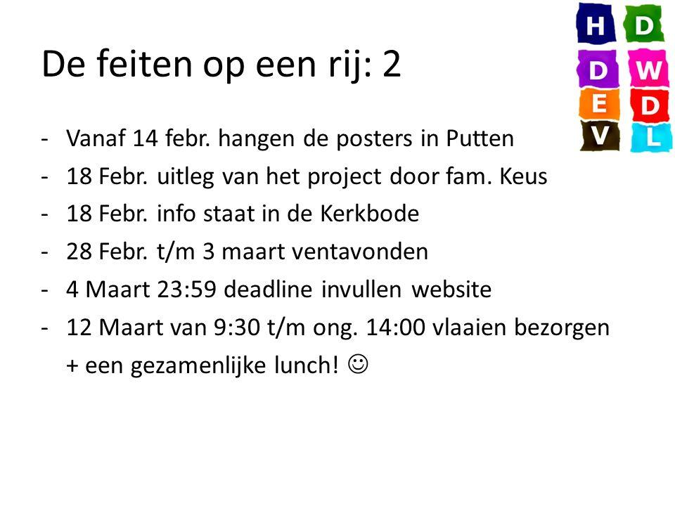 De feiten op een rij: 2 -Vanaf 14 febr. hangen de posters in Putten -18 Febr.