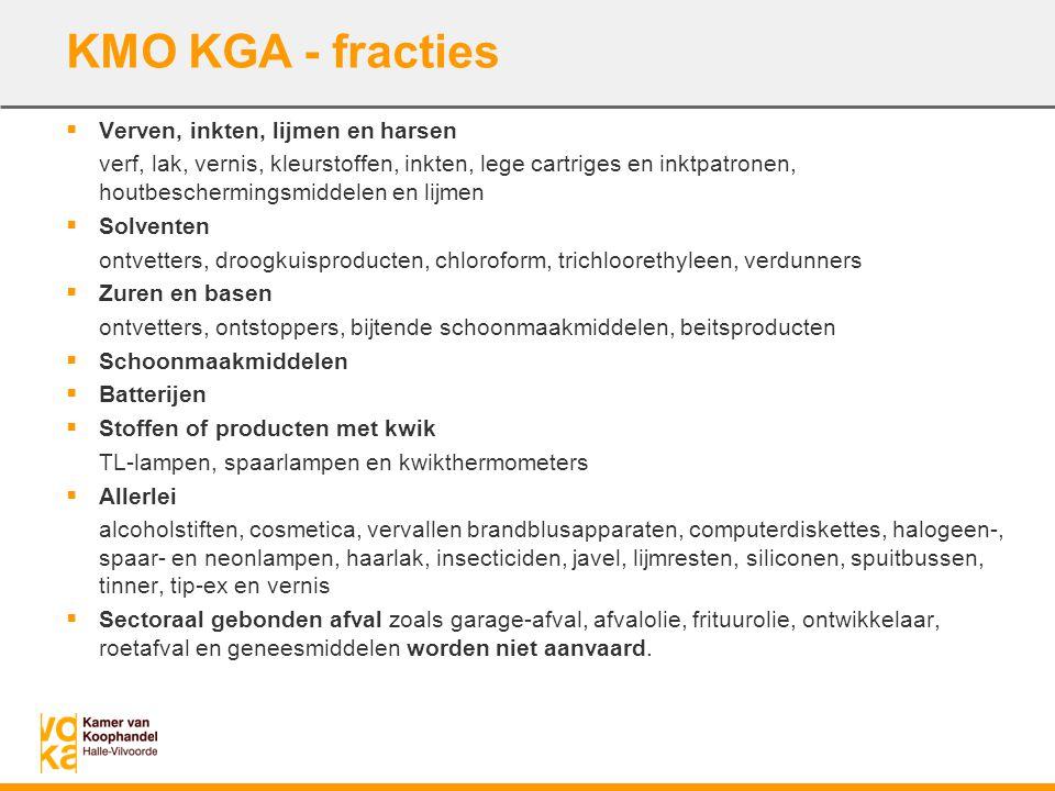 KMO KGA - fracties  Verven, inkten, lijmen en harsen verf, lak, vernis, kleurstoffen, inkten, lege cartriges en inktpatronen, houtbeschermingsmiddele