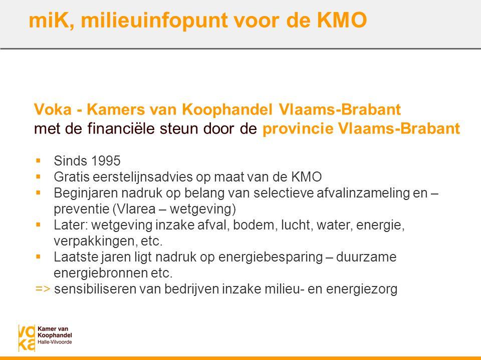 miK, milieuinfopunt voor de KMO Voka - Kamers van Koophandel Vlaams-Brabant met de financiële steun door de provincie Vlaams-Brabant  Sinds 1995  Gr