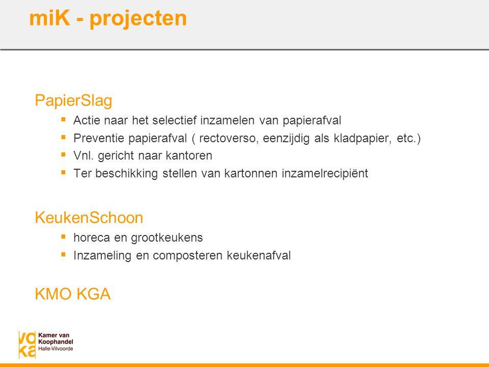 PapierSlag  Actie naar het selectief inzamelen van papierafval  Preventie papierafval ( rectoverso, eenzijdig als kladpapier, etc.)  Vnl. gericht n