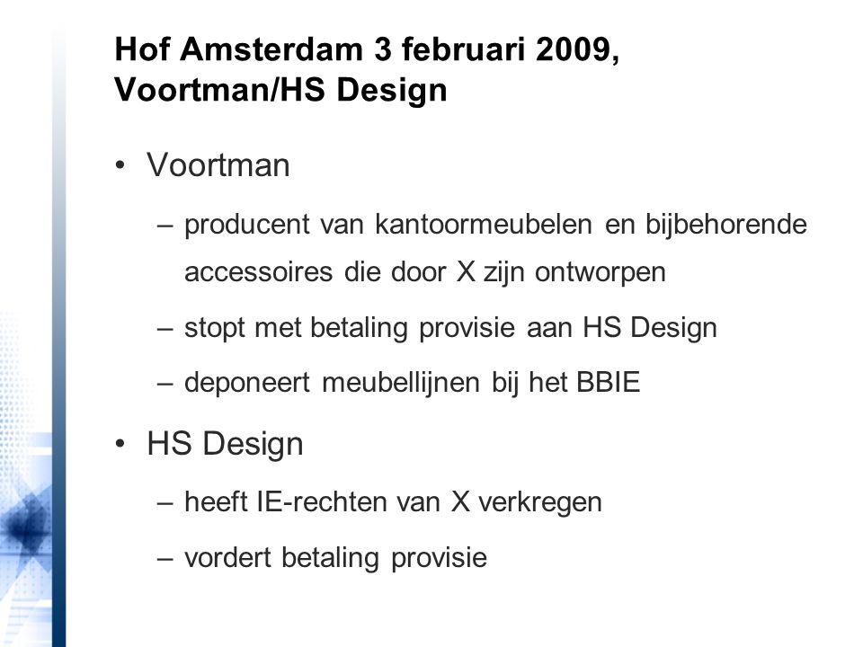 Voortman –producent van kantoormeubelen en bijbehorende accessoires die door X zijn ontworpen –stopt met betaling provisie aan HS Design –deponeert me