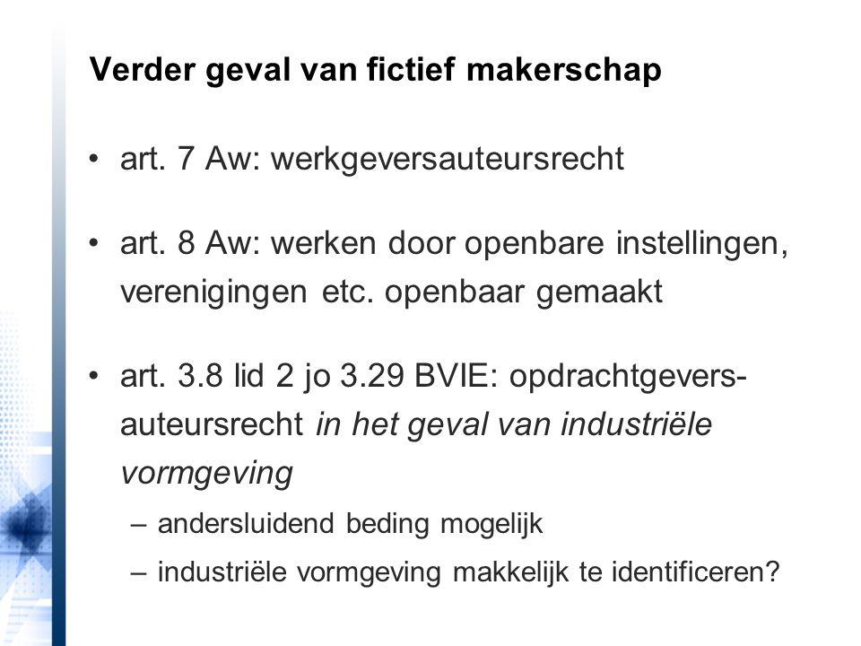 art. 7 Aw: werkgeversauteursrecht art. 8 Aw: werken door openbare instellingen, verenigingen etc. openbaar gemaakt art. 3.8 lid 2 jo 3.29 BVIE: opdrac