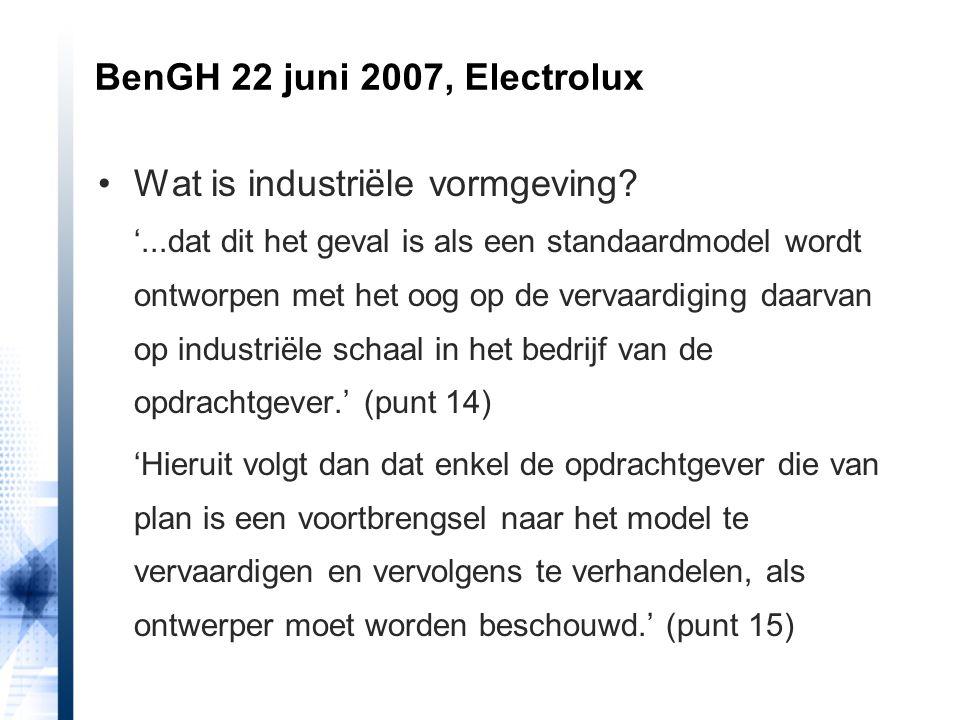 Wat is industriële vormgeving? '...dat dit het geval is als een standaardmodel wordt ontworpen met het oog op de vervaardiging daarvan op industriële