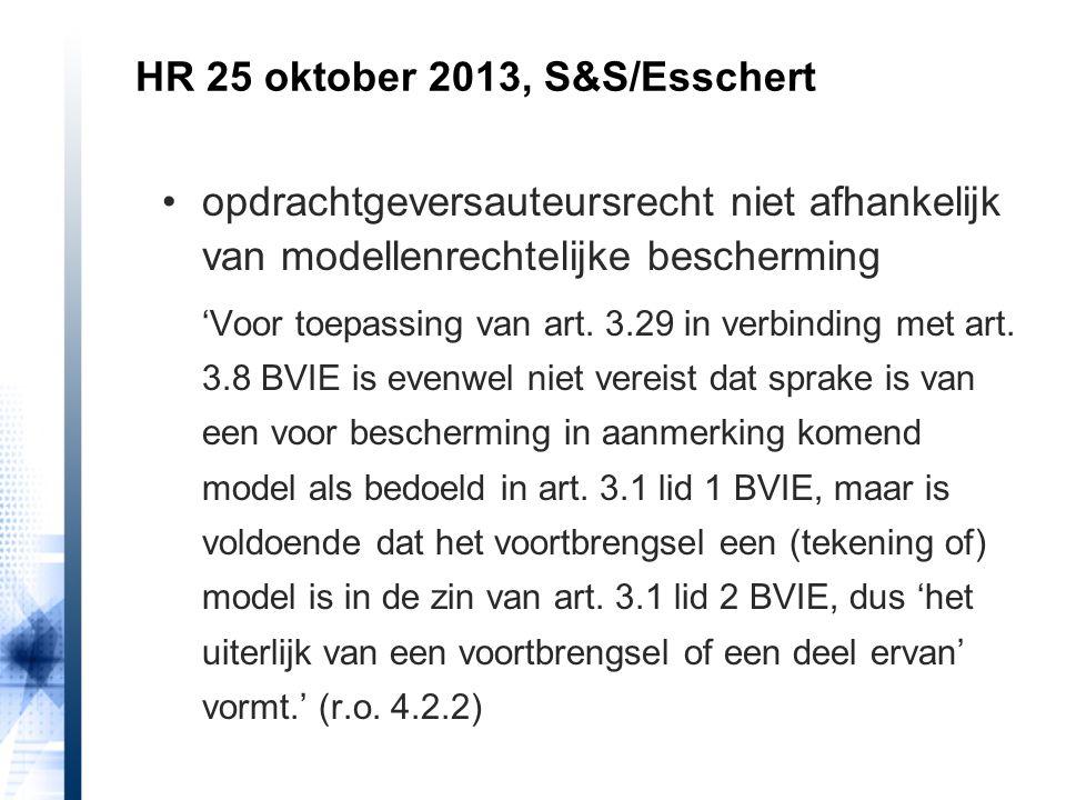HR 25 oktober 2013, S&S/Esschert opdrachtgeversauteursrecht niet afhankelijk van modellenrechtelijke bescherming 'Voor toepassing van art. 3.29 in ver