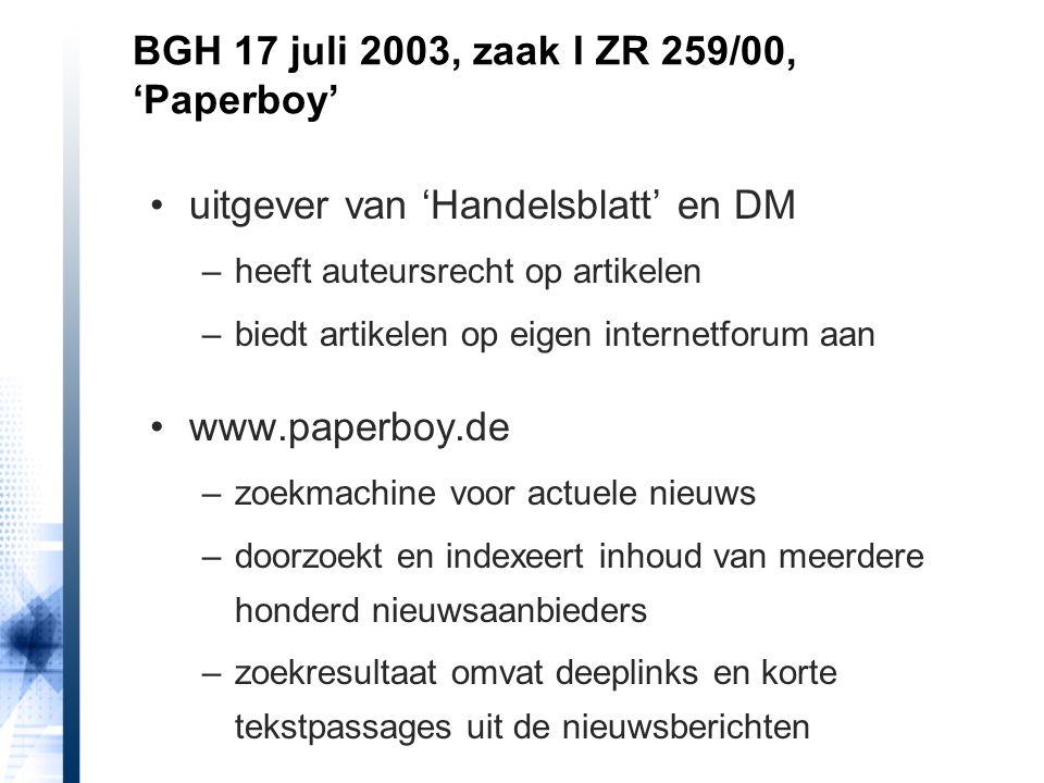 uitgever van 'Handelsblatt' en DM –heeft auteursrecht op artikelen –biedt artikelen op eigen internetforum aan www.paperboy.de –zoekmachine voor actue
