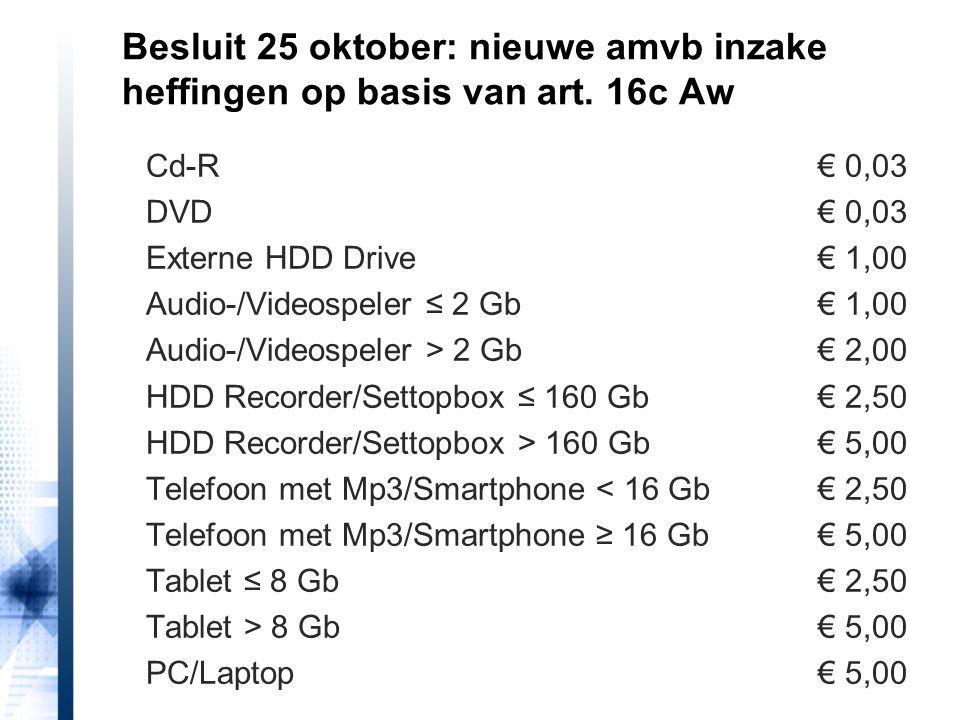 Besluit 25 oktober: nieuwe amvb inzake heffingen op basis van art. 16c Aw Cd-R€ 0,03 DVD€ 0,03 Externe HDD Drive€ 1,00 Audio-/Videospeler ≤ 2 Gb€ 1,00