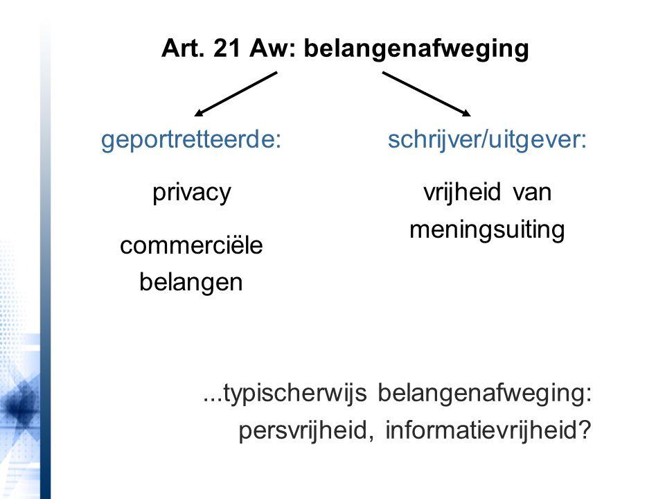 Art. 21 Aw: belangenafweging geportretteerde: privacy commerciële belangen schrijver/uitgever: vrijheid van meningsuiting...typischerwijs belangenafwe