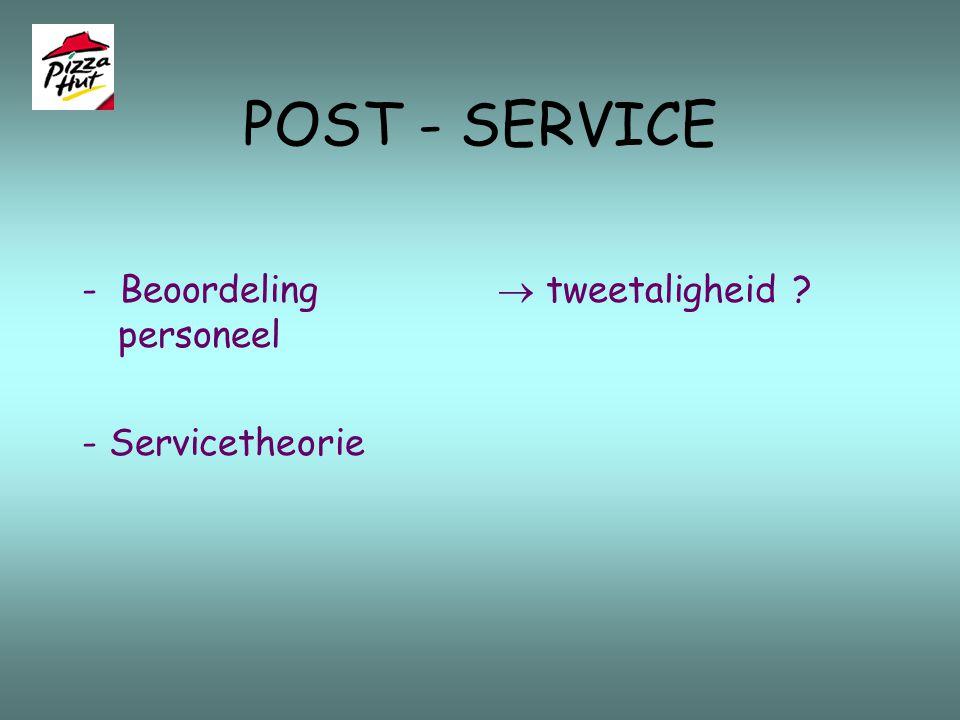 CORE - SERVICE Front Office 6. Self-service saladbar - bord nemen - geen wachttijd Back Office 5. Opdienster zorgt voor drank - aanvullen saladbar