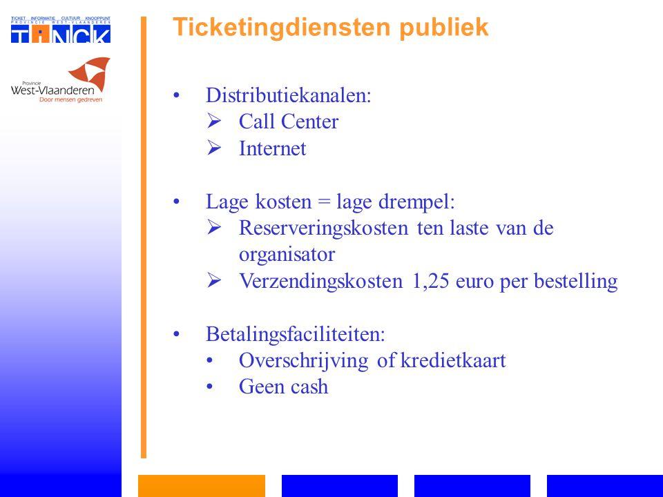 Ticketingdiensten publiek Distributiekanalen:   Call Center   Internet Lage kosten = lage drempel:   Reserveringskosten ten laste van de organisator   Verzendingskosten 1,25 euro per bestelling Betalingsfaciliteiten: Overschrijving of kredietkaart Geen cash