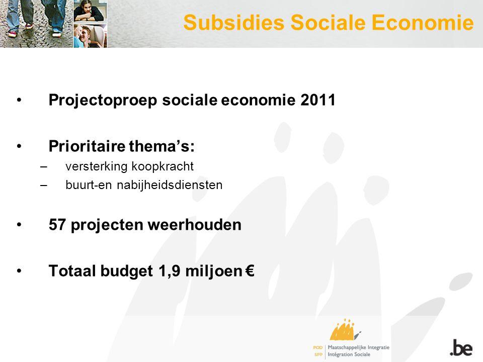 Subsidies Sociale Economie Projectoproep sociale economie 2011 Prioritaire thema's: –versterking koopkracht –buurt-en nabijheidsdiensten 57 projecten weerhouden Totaal budget 1,9 miljoen €
