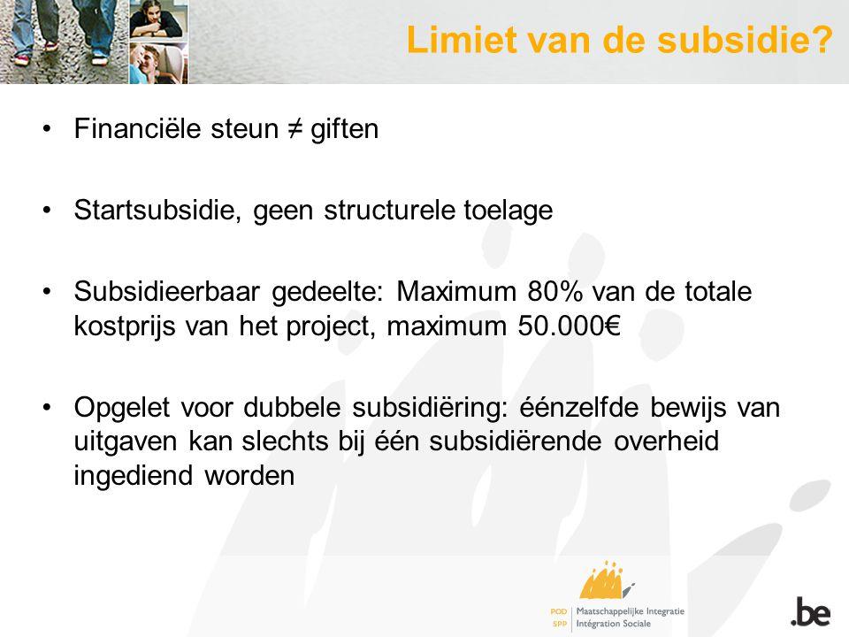 Limiet van de subsidie.