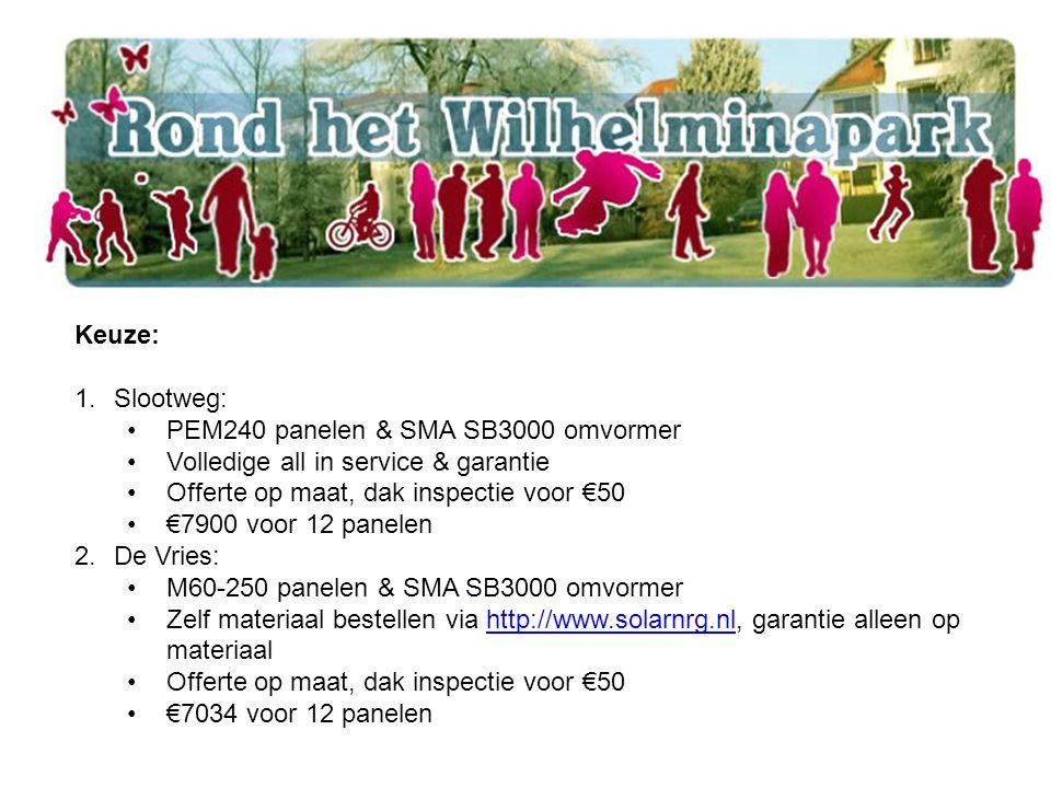 Keuze: 1.Slootweg: PEM240 panelen & SMA SB3000 omvormer Volledige all in service & garantie Offerte op maat, dak inspectie voor €50 €7900 voor 12 panelen 2.De Vries: M60-250 panelen & SMA SB3000 omvormer Zelf materiaal bestellen via http://www.solarnrg.nl, garantie alleen op materiaalhttp://www.solarnrg.nl Offerte op maat, dak inspectie voor €50 €7034 voor 12 panelen