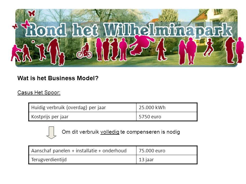 Wat is het Business Model? Casus Het Spoor: Huidig verbruik (overdag) per jaar25.000 kWh Kostprijs per jaar5750 euro Aanschaf panelen + installatie +