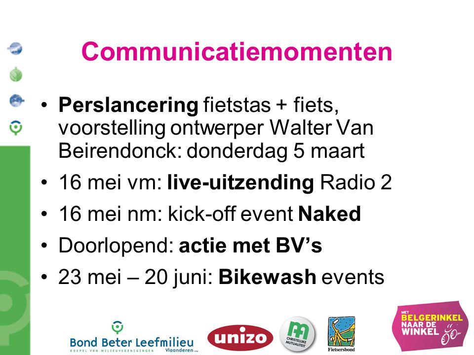 Communicatiemomenten Perslancering fietstas + fiets, voorstelling ontwerper Walter Van Beirendonck: donderdag 5 maart 16 mei vm: live-uitzending Radio