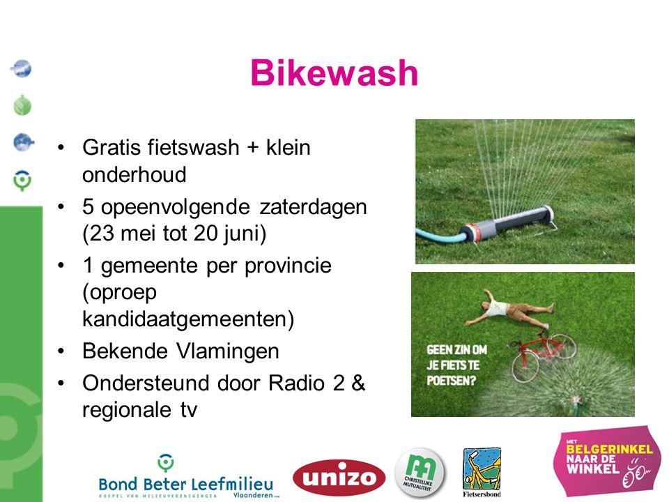 Bikewash Gratis fietswash + klein onderhoud 5 opeenvolgende zaterdagen (23 mei tot 20 juni) 1 gemeente per provincie (oproep kandidaatgemeenten) Beken