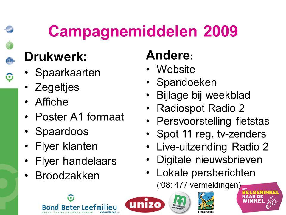 Campagnemiddelen 2009 Drukwerk: Spaarkaarten Zegeltjes Affiche Poster A1 formaat Spaardoos Flyer klanten Flyer handelaars Broodzakken Andere : Website