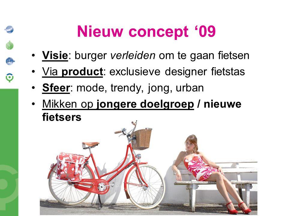 Nieuw concept '09 Visie: burger verleiden om te gaan fietsen Via product: exclusieve designer fietstas Sfeer: mode, trendy, jong, urban Mikken op jong