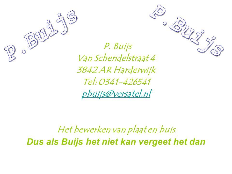 P. Buijs Van Schendelstraat 4 3842 AR Harderwijk Tel: 0341-426541 pbuijs@versatel.nl Het bewerken van plaat en buis Dus als Buijs het niet kan vergeet