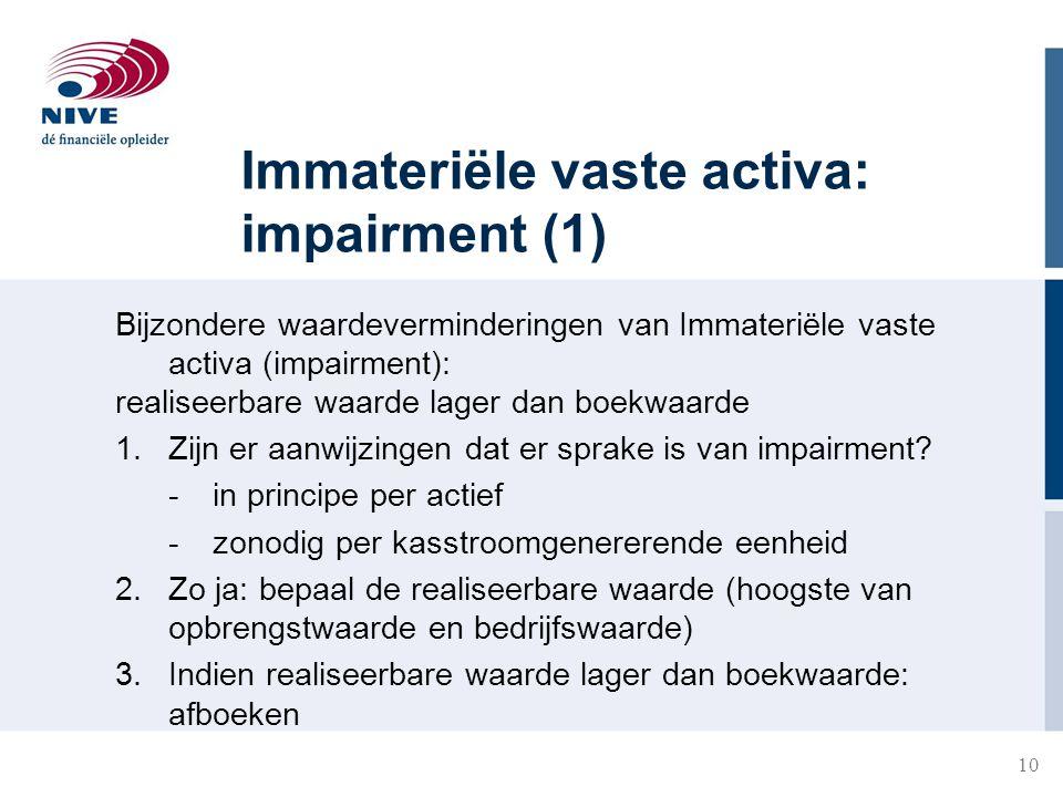 10 Immateriële vaste activa: impairment (1) Bijzondere waardeverminderingen van Immateriële vaste activa (impairment): realiseerbare waarde lager dan
