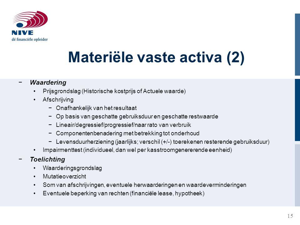 15 Materiële vaste activa (2) −Waardering Prijsgrondslag (Historische kostprijs of Actuele waarde) Afschrijving −Onafhankelijk van het resultaat −Op b