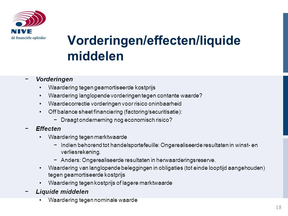 18 Vorderingen/effecten/liquide middelen −Vorderingen Waardering tegen geamortiseerde kostprijs Waardering langlopende vorderingen tegen contante waar