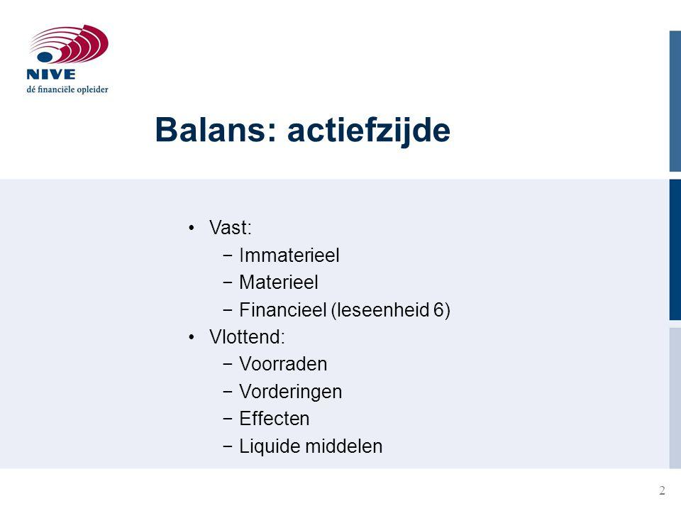 2 Balans: actiefzijde Vast: −Immaterieel −Materieel −Financieel (leseenheid 6) Vlottend: −Voorraden −Vorderingen −Effecten −Liquide middelen