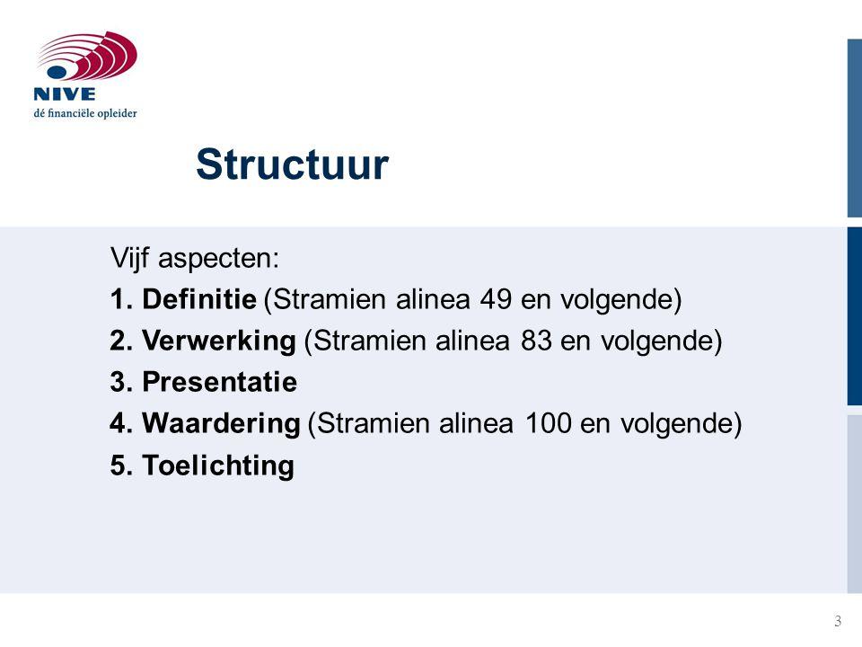 3 Structuur Vijf aspecten: 1.Definitie (Stramien alinea 49 en volgende) 2.Verwerking (Stramien alinea 83 en volgende) 3.Presentatie 4.Waardering (Stra