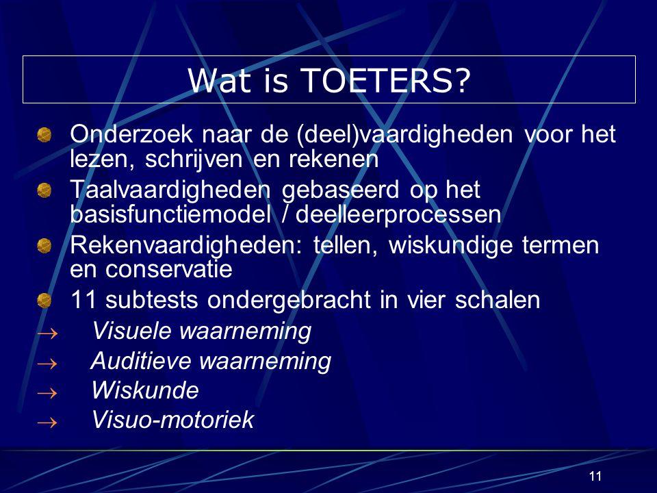 10 Geschiedenis van TOETERS & KONTRABAS Toetsboekje voor taal-, reken- en schrijfvaardigheden Opvolger (paralleltoets) van TONKL (PMS-Halle) PMS-werkgroep Basisonderwijs Vlaams-Brabant (1990) Normeringsgroep kleuters Haacht, Aarschot, Leuven (1995) Uitgegeven door VCLB Keerbergen-Haacht