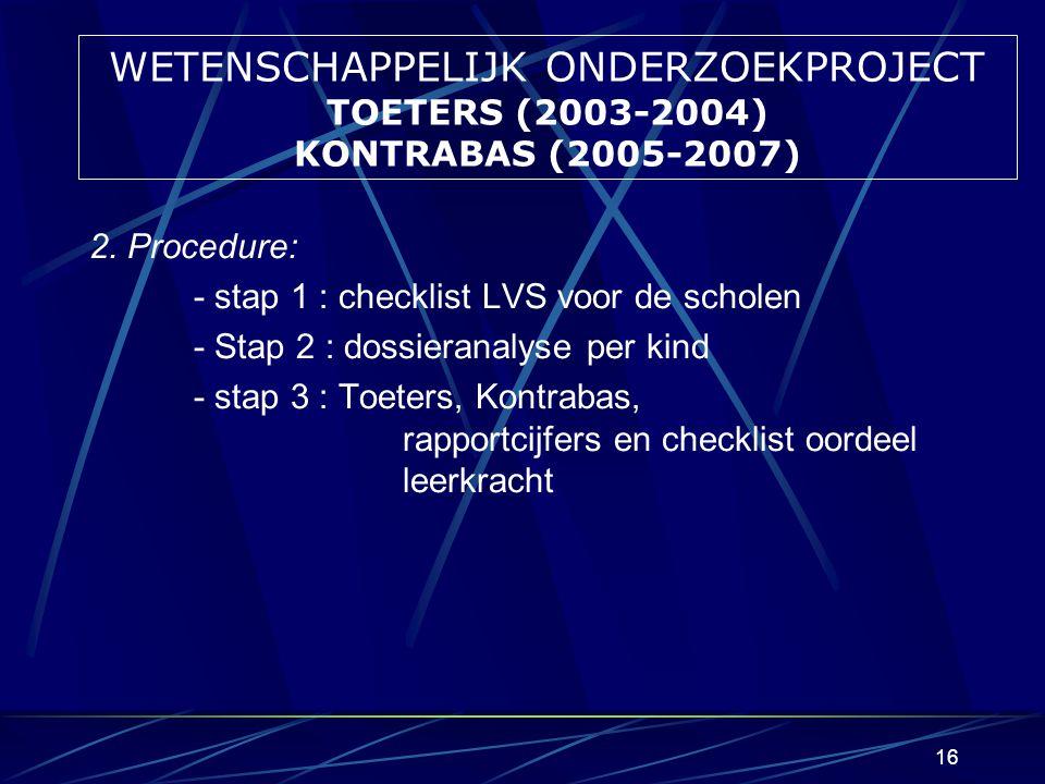 15 WETENSCHAPPELIJK ONDERZOEKPROJECT TOETERS (2002-2004) KONTRABAS (2006-2008) 1.