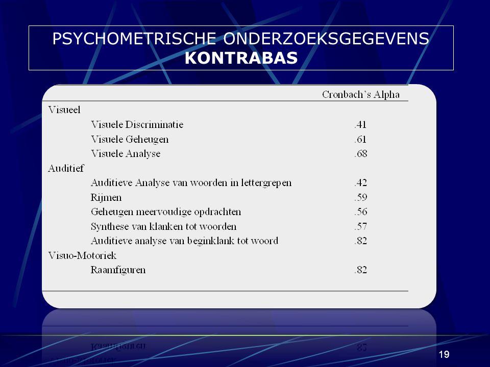 18 PSYCHOMETRISCHE ONDERZOEKSGEGEVENS KONTRABAS Statistische controle gegevens Algemene betrouwbaarheid (interne consistentie) : KONTRABAS : cronbach's Alpha =.87 (voldoende tot goed) Voor de drie schalen afzonderlijk : visueel (.67), auditief (.83) en raamfiguren (.