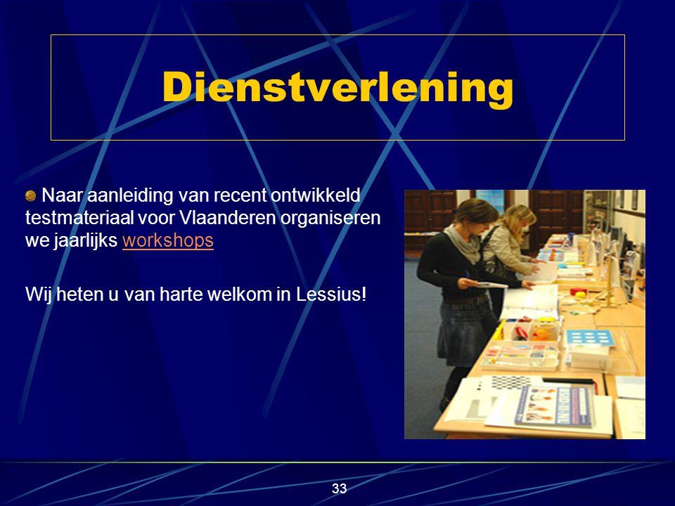 32 testadaptatie en psychometrische oppuntstelling staan hierbij centraal coördinatie of participatie in onderzoeksprojecten ligt vooral in de aanpassing en hernormering van diagnostische instrumenten aan een Vlaamse populatie Toegepast wetenschappelijk onderzoek
