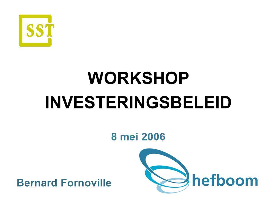 WORKSHOP INVESTERINGSBELEID 8 mei 2006 Bernard Fornoville.
