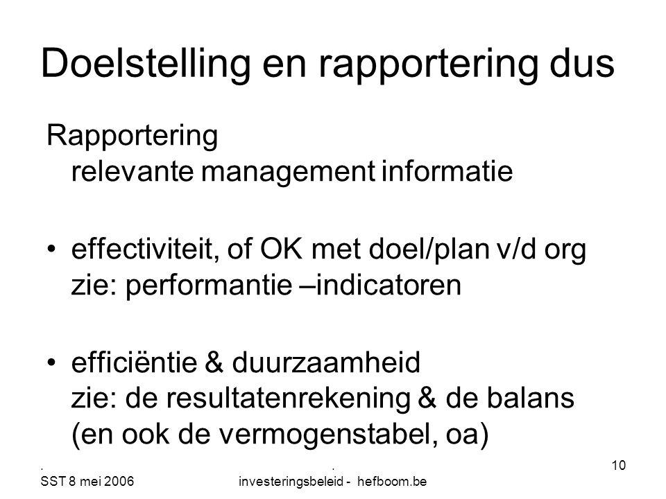 . SST 8 mei 2006. investeringsbeleid - hefboom.be 10 Doelstelling en rapportering dus Rapportering relevante management informatie effectiviteit, of O