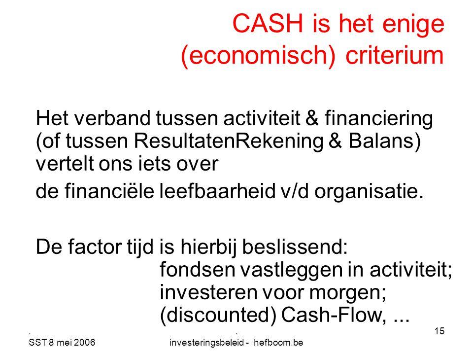 . SST 8 mei 2006. investeringsbeleid - hefboom.be 15 CASH is het enige (economisch) criterium Het verband tussen activiteit & financiering (of tussen