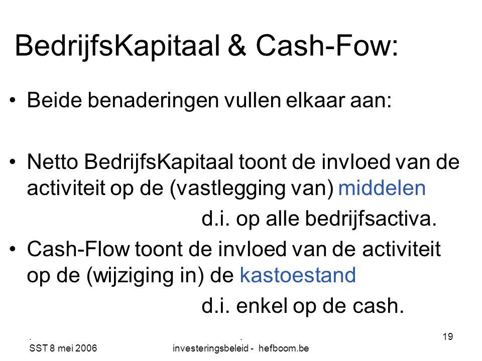 . SST 8 mei 2006. investeringsbeleid - hefboom.be 19 BedrijfsKapitaal & Cash-Fow: Beide benaderingen vullen elkaar aan: Netto BedrijfsKapitaal toont d