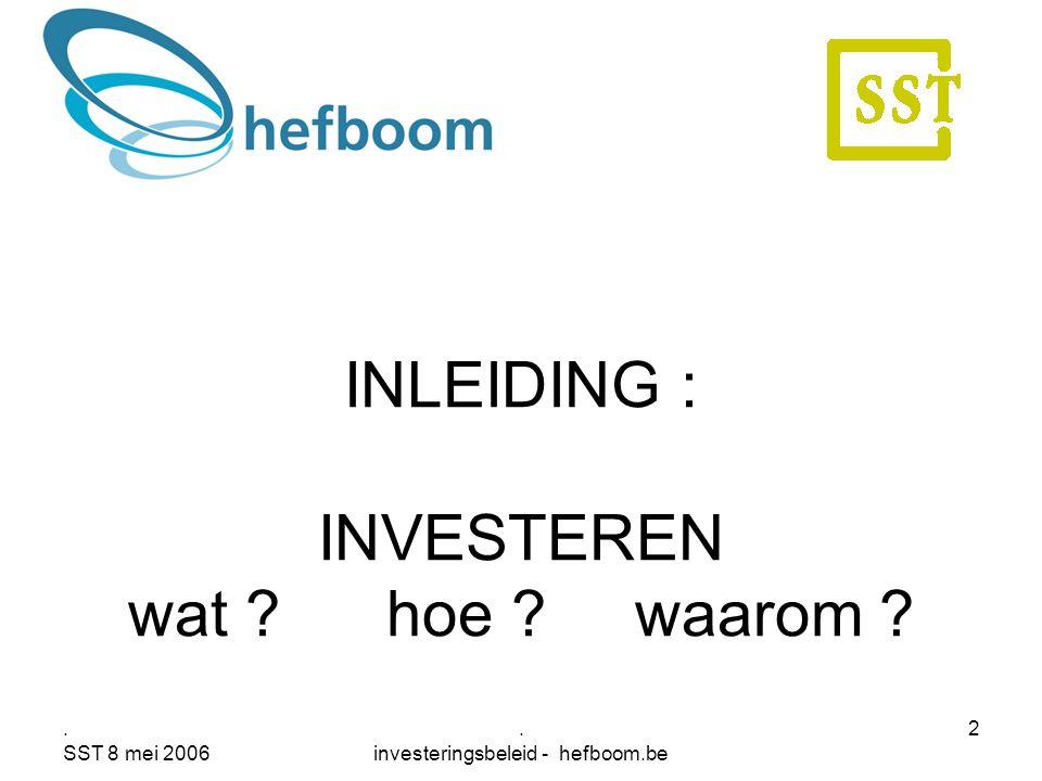 . SST 8 mei 2006. investeringsbeleid - hefboom.be 2 INLEIDING : INVESTEREN wat ? hoe ? waarom ?