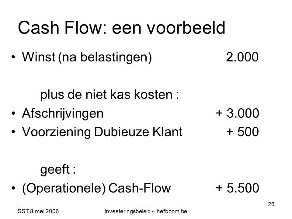 . SST 8 mei 2006. investeringsbeleid - hefboom.be 26 Cash Flow: een voorbeeld Winst (na belastingen) 2.000 plus de niet kas kosten : Afschrijvingen+ 3