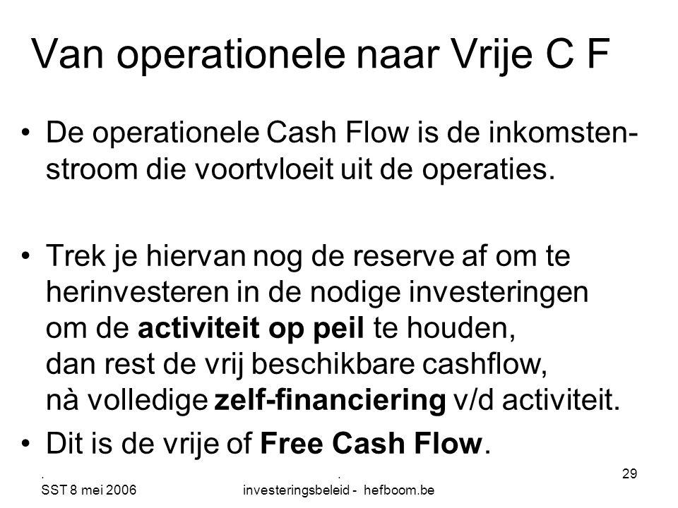 . SST 8 mei 2006. investeringsbeleid - hefboom.be 29 Van operationele naar Vrije C F De operationele Cash Flow is de inkomsten- stroom die voortvloeit