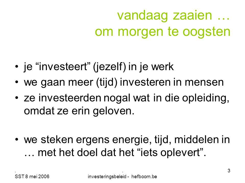 """. SST 8 mei 2006. investeringsbeleid - hefboom.be 3 je """"investeert"""" (jezelf) in je werk we gaan meer (tijd) investeren in mensen ze investeerden nogal"""