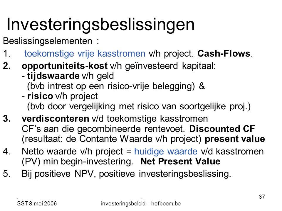 . SST 8 mei 2006. investeringsbeleid - hefboom.be 37 Investeringsbeslissingen Beslissingselementen : 1. toekomstige vrije kasstromen v/h project. Cash